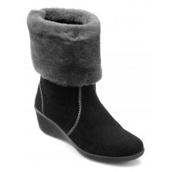 Truro Black/Grey Std Fit Low Wedge Mid-calf Boot