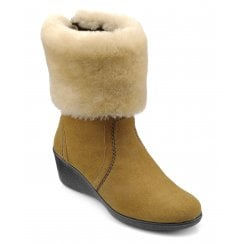 Truro Brandy/Cream Std Fit Low Wedge Mid-calf Boot