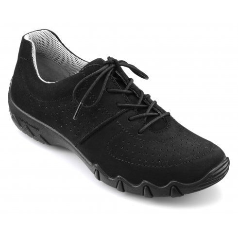 Hotter Vault Std Fit Black Nubuck Flat Trainer Style Shoe