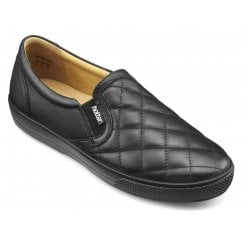 Violet Std Fit Black Leather Slip On Shoe