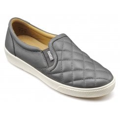Violet Std Fit Slate Quilted Leather Slip On Shoe