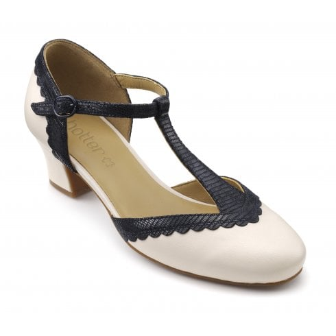 Hotter Viviene Std Fit Soft Beige/Navy Leather Heeled T Bar Shoe