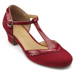 Viviene Std Fit tango Red Patent/Suede Heeled T-Bar Shoe