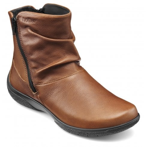 Hotter Whisper EEE/Extra Wide Fit Dark Tan Leather Flat Zip Up Boot