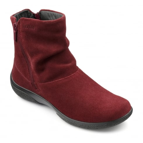 Hotter Whisper Ruby Wide Fit suede leather flat boot with side zips