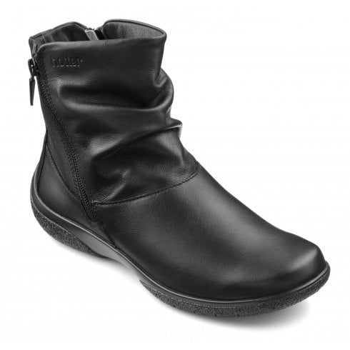 Hotter Whisper Std Fit Black Leather Flat Zip Up Ankle Boot