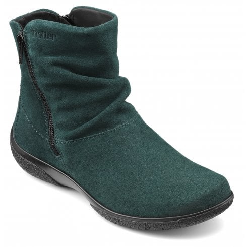 Hotter Whisper Std Fit Deep Teal Suede Flat Zip Up Ankle Boot