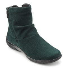 Whisper Std Fit Forest Green Suede Flat Zip Up Ankle Boot