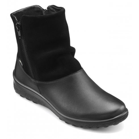 Hotter Whisper Std Fit Gore-Tex Black Leather/Suede Flat Zip Up Ankle Boot