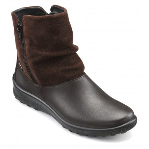 Hotter Whisper Std Fit Gore-Tex Chocolate Leather/Suede Flat Zip Up Ankle Boot