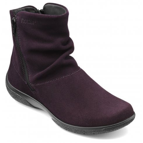 Hotter Whisper Std Fit Plum Suede Flat Zip Up Ankle Boot