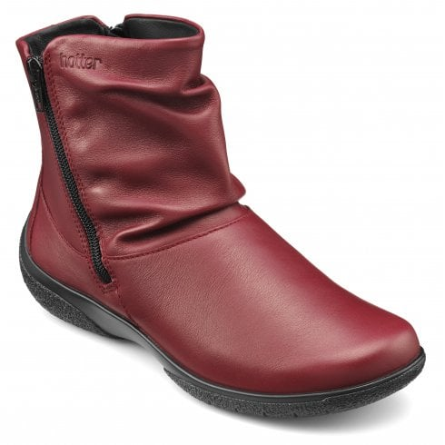 Hotter Whisper Std Fit Ruby Leather Flat Zip Up Ankle Boot