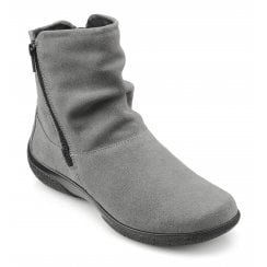 Whisper Std Fit Urban Grey Suede Flat Zip Up Ankle Boot
