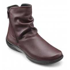 Whisper Wide Fit Maroon Leather Flat Zip Up Ankle Boot