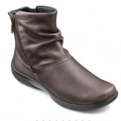 Whisper Wide Fit Mushroom leather flat ankle boot with two side zips