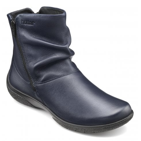 Hotter Whisper Wide Fit Rich Navy Leather Flat Zip Up Ankle Boot