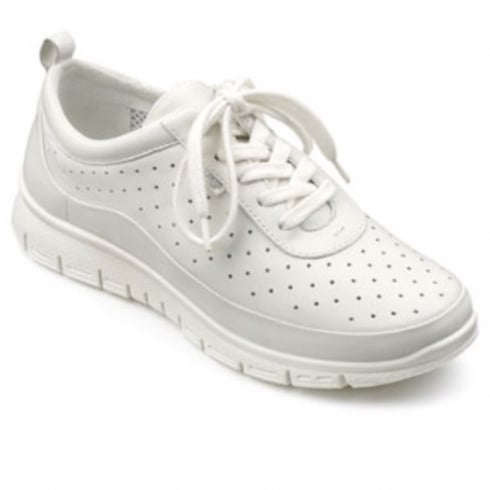 Hotter White leather flat lace up trainer style shoe