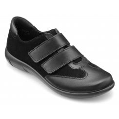 Willow Black Std Fit Leather/Suede Flat Twin Velcro Shoe