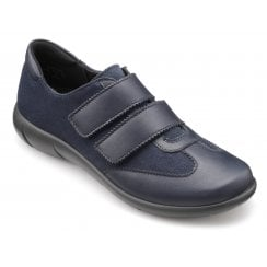 Willow Navy Wide Fit Leather/Suede Flat Twin Velcro Shoe