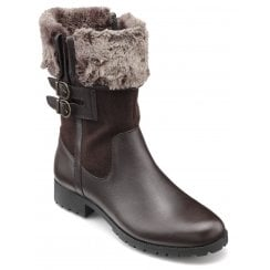 Windsor Chocolate Std Fit Leather/Suede Flat Mid-calf Boot