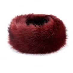 Wine faux fur headband