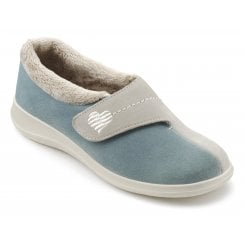 Wrap Std Fit Aqua/Beige Suede Velcro Slipper