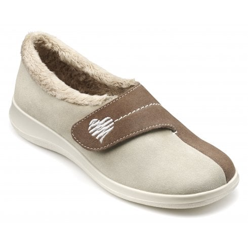 Hotter Wrap Std Fit Beige Suede Velcro Slipper