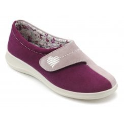 Wrap Std Fit Boysenberry/Pink Suede Velcro Slipper
