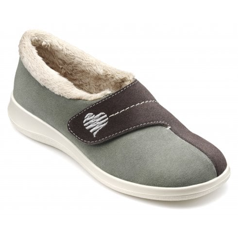 Wrap Std Fit Duck Egg Suede Velcro Slipper