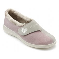 Wrap Std Fit Pink/Beige Suede Velcro Slipper