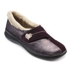 Wrap Std Fit Plum Metallic Suede Velcro Slipper