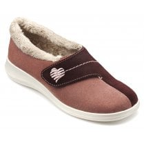 Wrap Std Fit Salmon Multi Suede Velcro Slipper