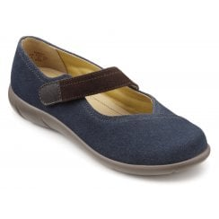 Wren Navy/Chocolate Wide Fit Suede Flat Mary Jane Style Shoe