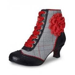 A5314 Wanda Couture Grey/Red/Black Heeled Boot With Laces And Side Zip
