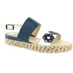 Navy/white flat sandal with sling back