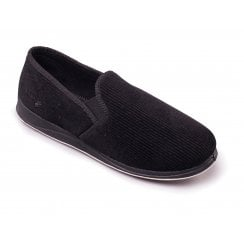 Albert Black Cord Full Slipper