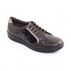Atom Brown Leather Flat Lace Up Shoe