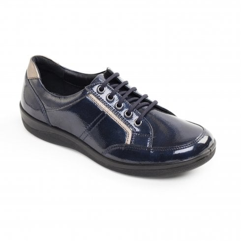 Padders Atom Navy Leather Flat Lace Up Shoe