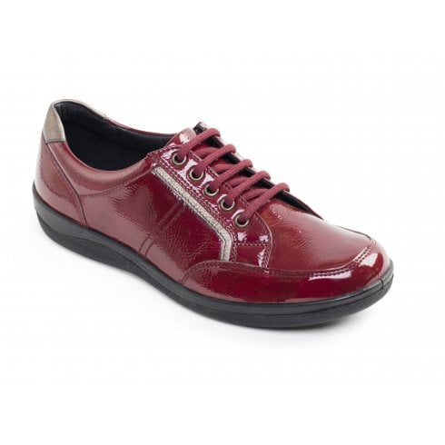 Padders Atom Red Leather Flat Lace Up Shoe