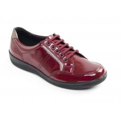 Atom Red Leather Flat Lace Up Shoe