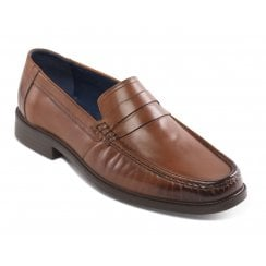 Baron Wide Fit Tan Leather Loafer Style Shoe