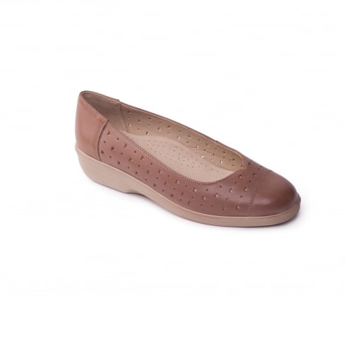 Padders Beige leather flat slip on pump
