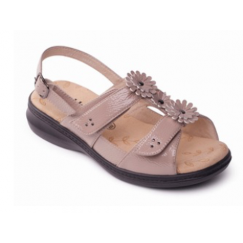 Padders Beige/nude floral flat velcro sandal with buckle fastening