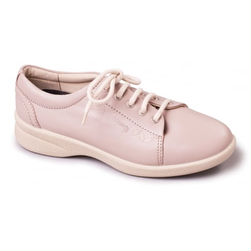 Padders Beige/nude leather flat lace up shoe