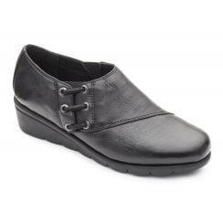 Birch E Fit Black Leather Flat Elasticated Side Lace Shoe