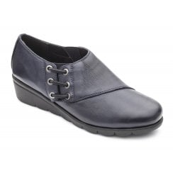 Birch E Fit Navy Leather Flat Elasticated Side Lace Shoe