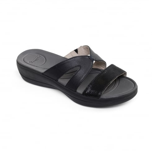 Padders Black combi leather flat slip on sandal