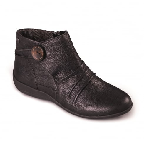 Padders Black leather flat ankle boot with side zip