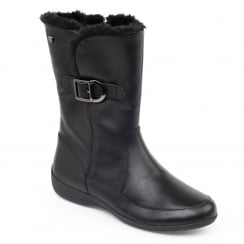 Black leather flat mid calf length boot