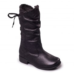 Black leather mid calf flat boot with side zip